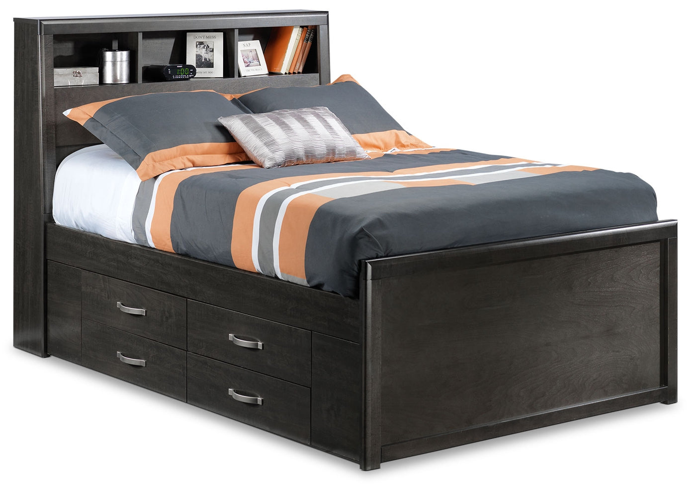 Image of: Dessy Junior Full Storage Bed Charcoal Leon S