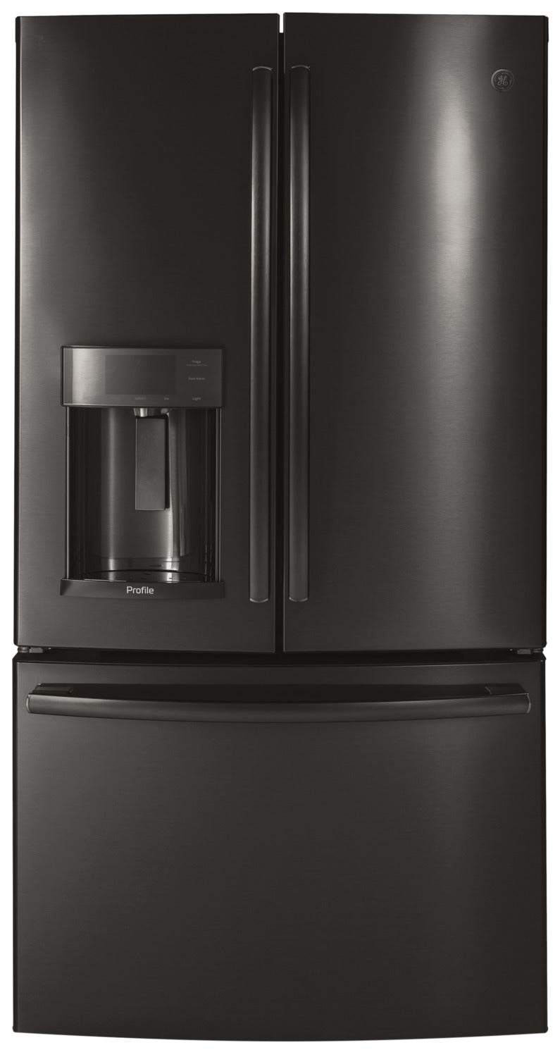 GE Profile Black Stainless Steel Counter-Depth French Door Refrigerator (22.2 Cu. Ft.) - PYD22KBLTS