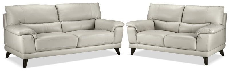 Braylon Sofa and Loveseat Set - Silver Grey