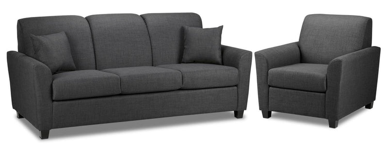 Roxanne Sofa and Chair Set - Charcoal