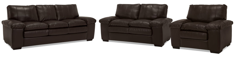 Amento Sofa, Loveseat and Chair Set - Café