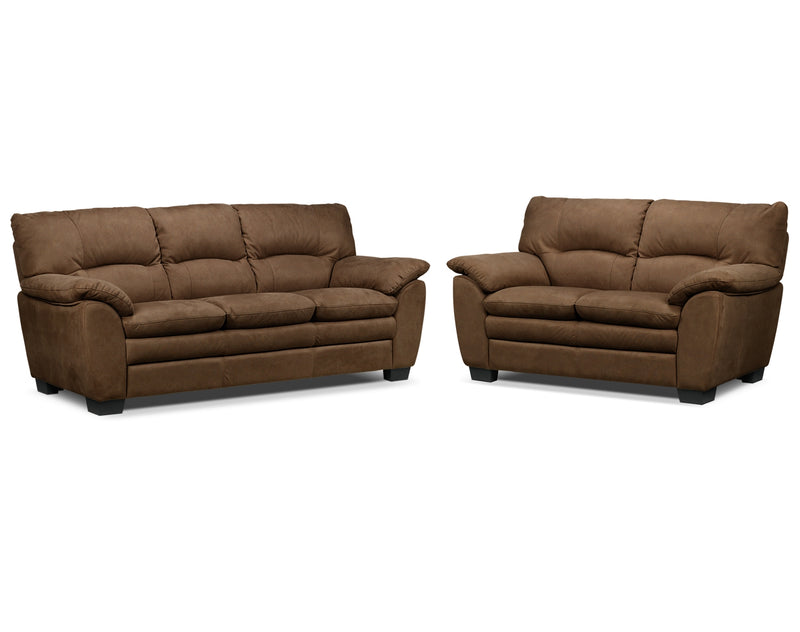 Kelleher Sofa and Loveseat Set - Hazelnut