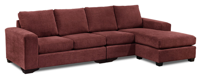 Danielle 2-Piece Sectional with Right-Facing Chaise - Mulberry