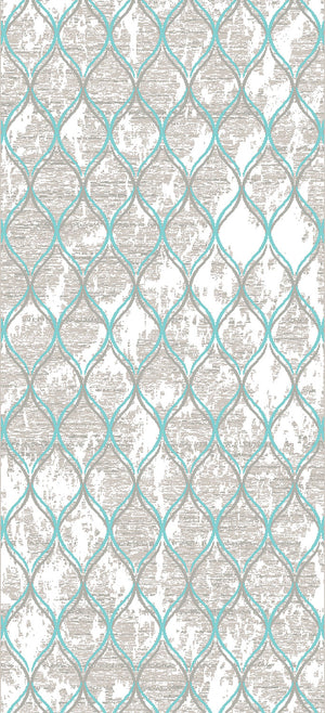Trellis 5' x 8' Area Rug - Aqua Blue and Grey