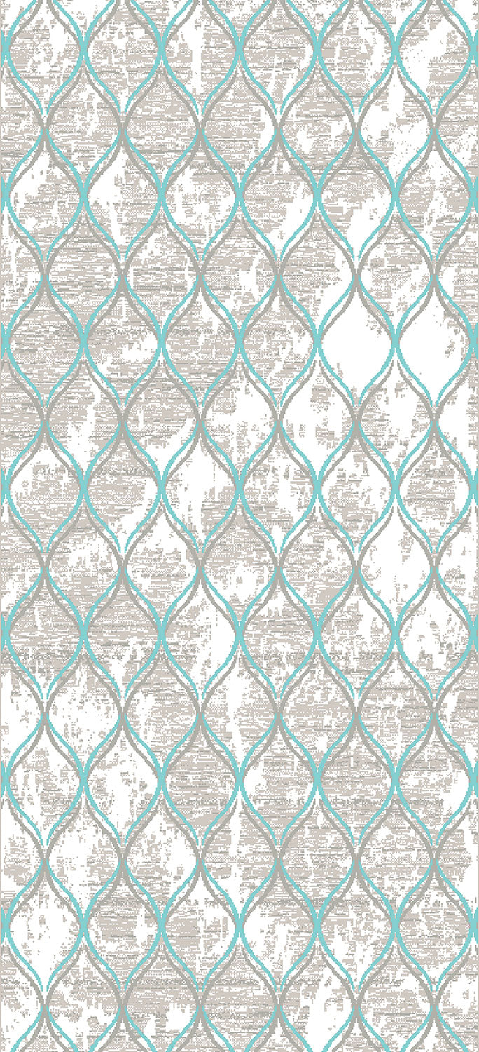 Trellis 8' x 11' Area Rug - Aqua Blue and Grey