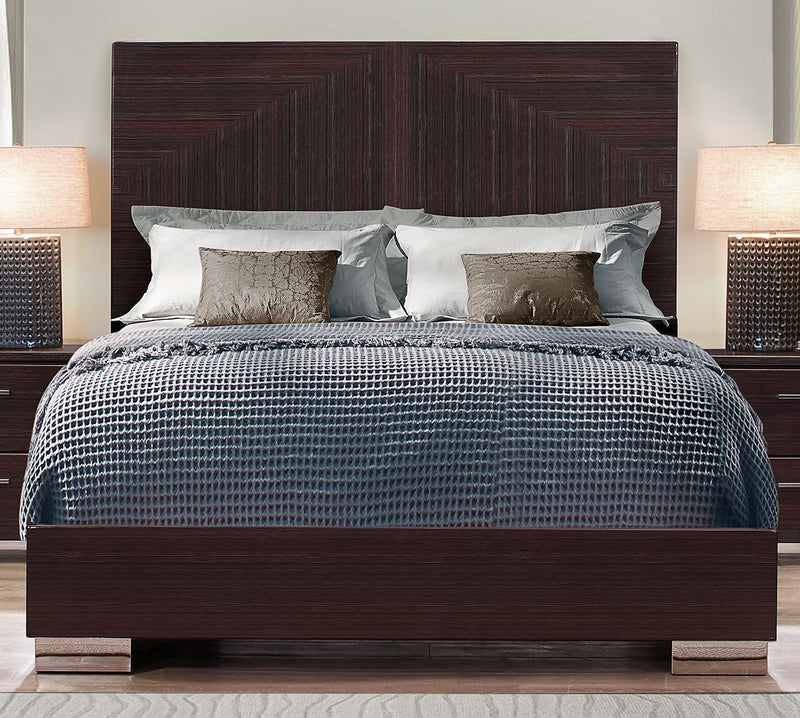 Moritz Queen Bed - Glossy Dark Brown