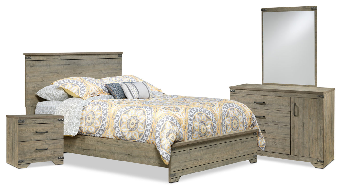 Gramado 5-Piece Queen Bedroom Set - Weathered Oak