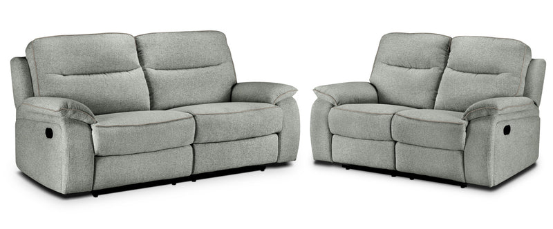 Latham Reclining Sofa and Reclining Loveseat Set - Silver Grey