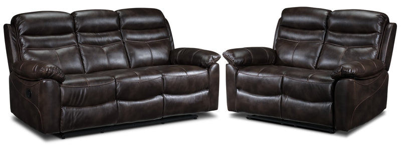 Devon Reclining Sofa and Reclining Loveseat Set - Brown