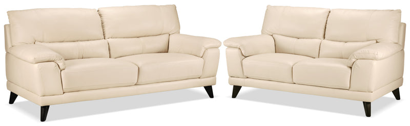 Braylon Sofa and Loveseat Set - Bisque