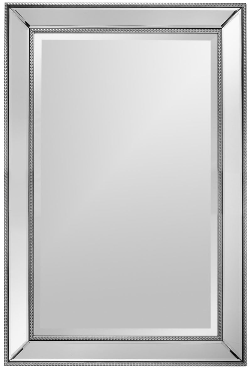 "Vedette Silver Beaded Wall Mirror (24"" x 36"")"