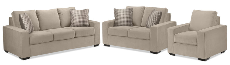 Ciara Sofa, Loveseat and Chair Set - Granite