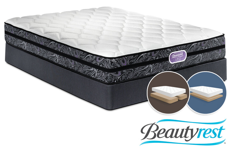 Simmons Beautyrest Ultra Haley Firm Queen Mattress and Split Low-Profile Boxspring Set