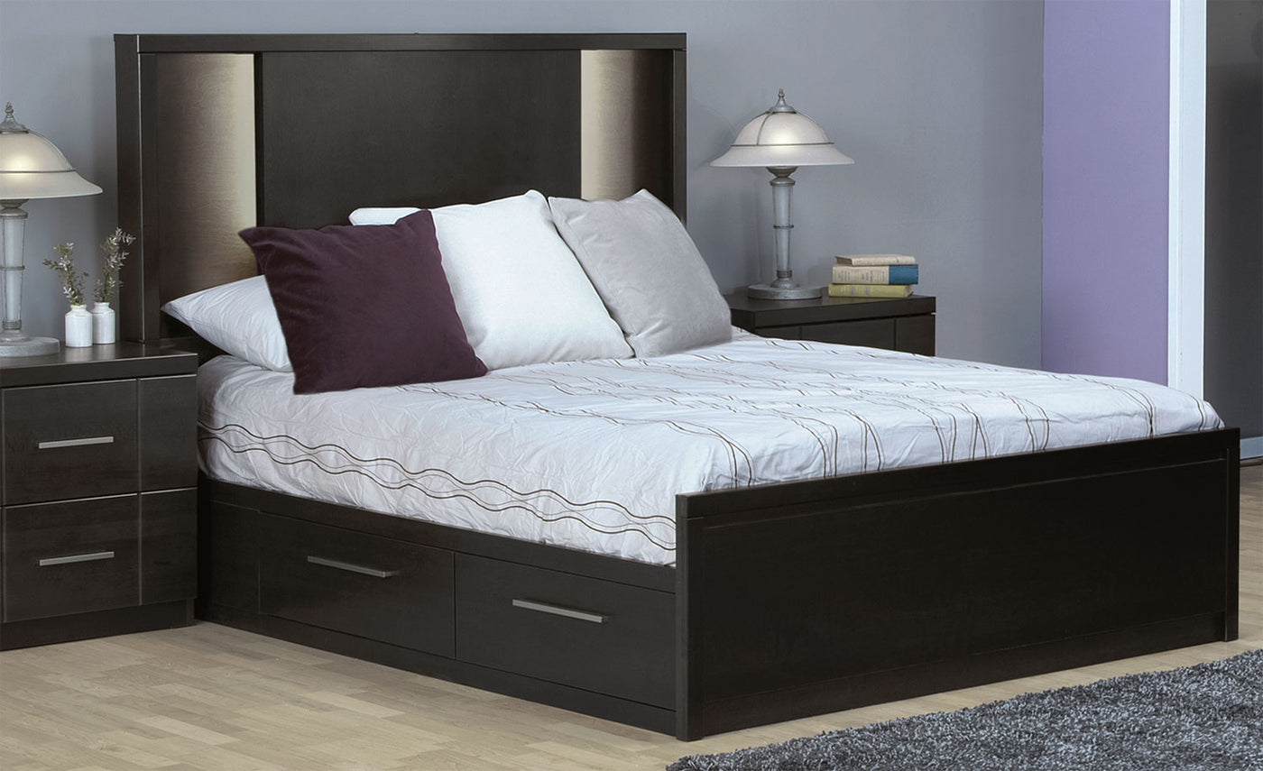 Seville Queen Storage Bed - Charcoal