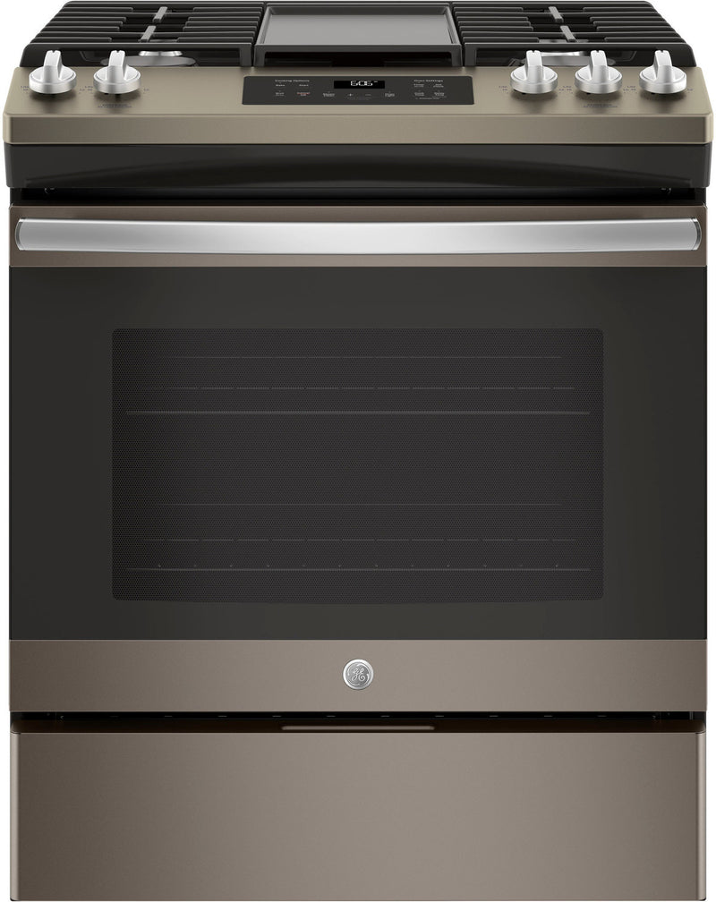 GE Premium Slate Appearance Slide-In Gas Range (5.4 Cu. Ft.) - JCGSS66EELES
