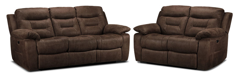 Collins Power Reclining Sofa and Power Reclining Loveseat Set - Walnut