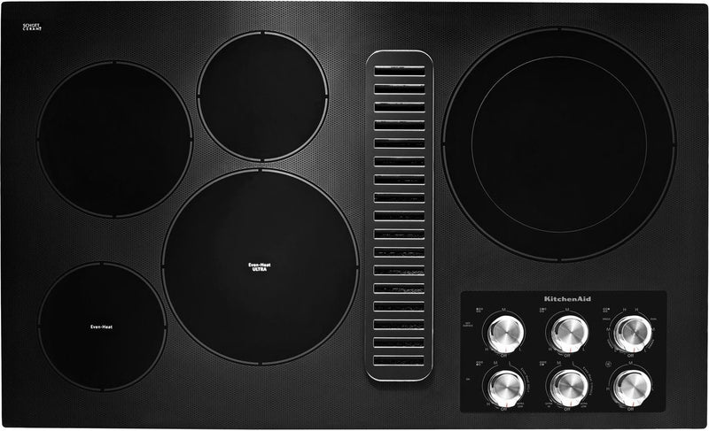 "KitchenAid Black 36"" Electric Downdraft Cooktop - KCED606GBL"