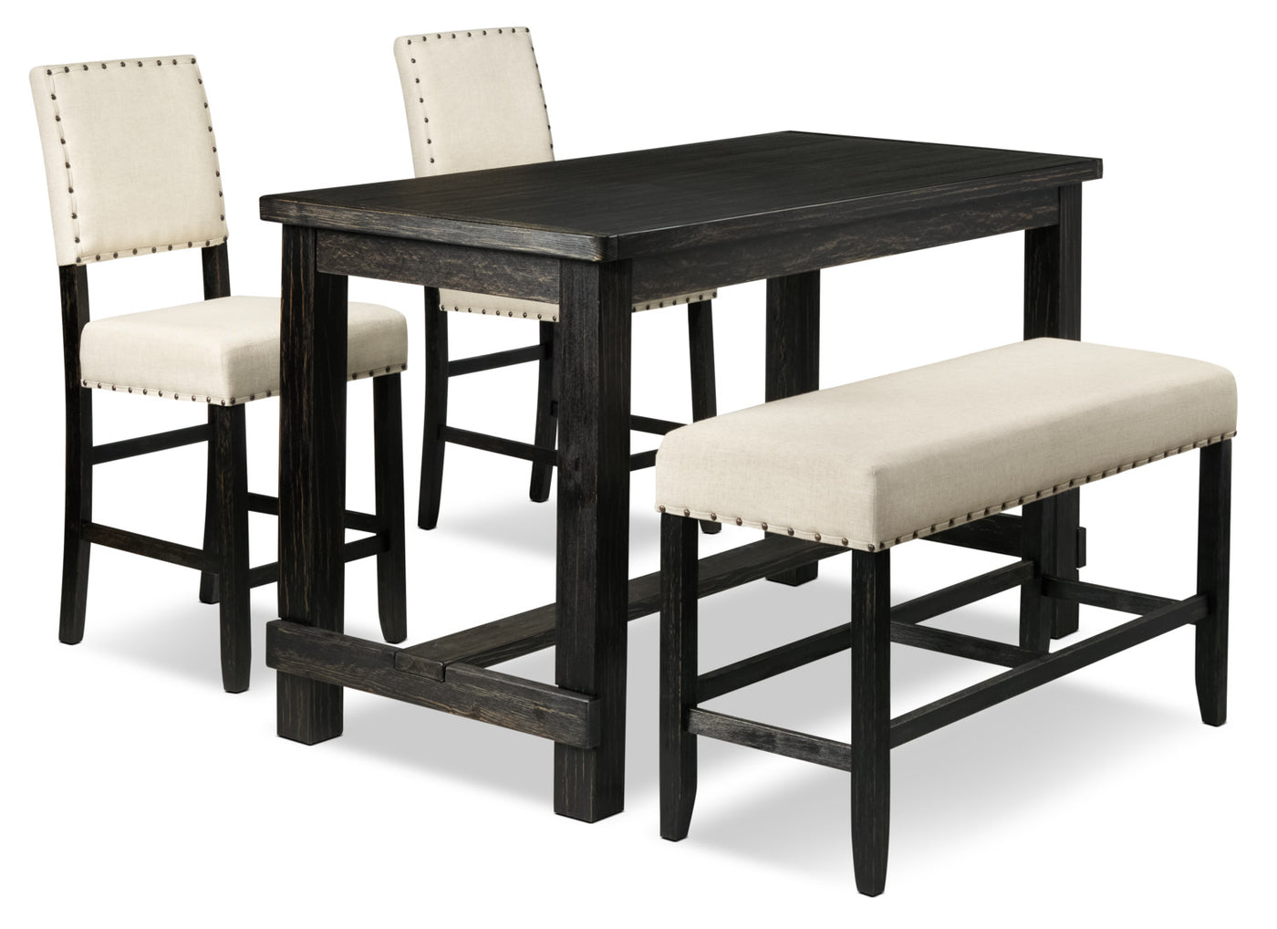 Astonishing Jackson 4 Piece Pub Height Dinette Set Dark Grey And Cream Dailytribune Chair Design For Home Dailytribuneorg