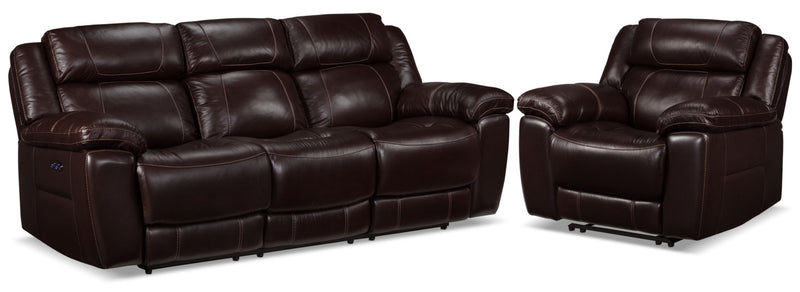 Solenn Power Reclining Sofa and Recliner - Black Cherry