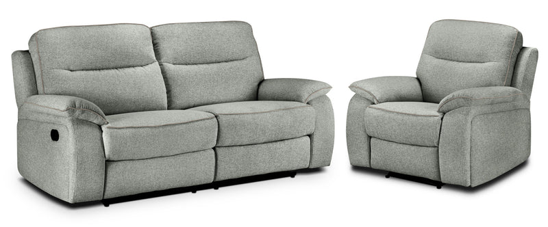 Latham Reclining Sofa and Recliner Set - Silver Grey