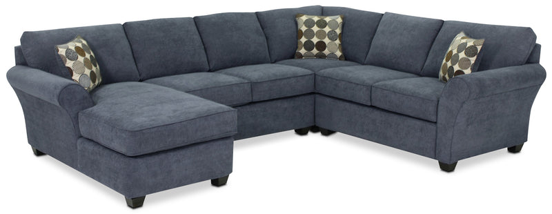 Althea 4-Piece Sectional with Left-Facing Chaise - Navy
