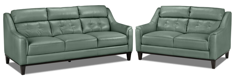 Linda Sofa and Loveseat Set - Seafoam