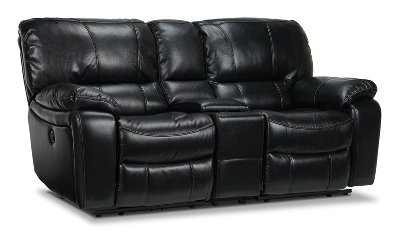 Santorini Power Reclining Loveseat with Console - Black