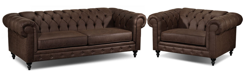 Chapman Sofa and Chair and a Half Set - Brown