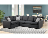 Athina  2-Piece Sectional with Right-Facing Queen Sofa Bed - Charcoal