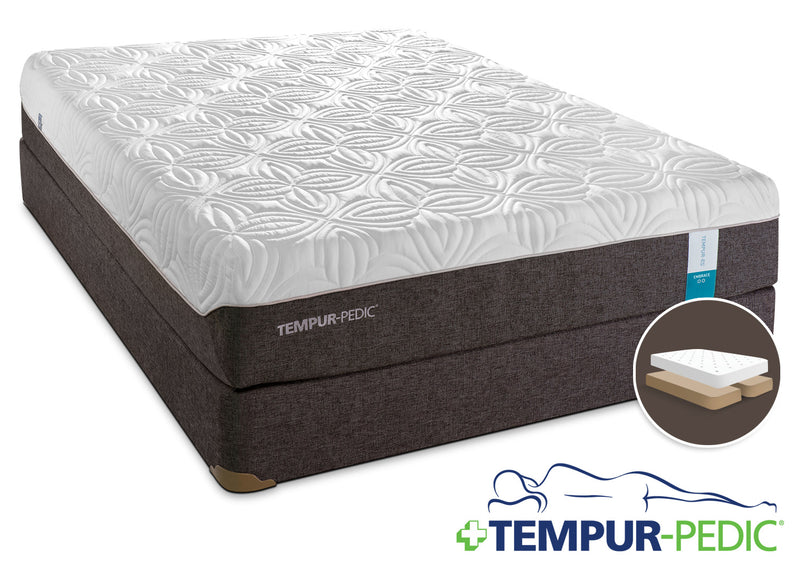 Tempur-Pedic Embrace 2.0 Plush King Mattress and Split Boxspring Set