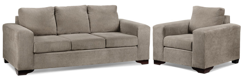 Fava Sofa and Chair Set - Pewter