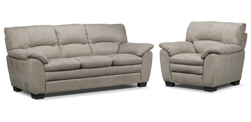Kelleher Sofa and Chair Set - Silver Grey