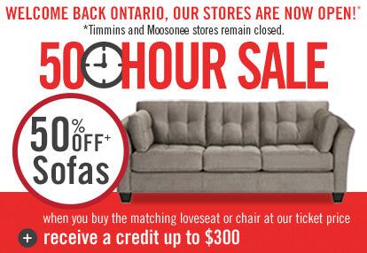 50 Hour Sale | 50% Off Sofaswhen you buy the matching loveseat or chair.