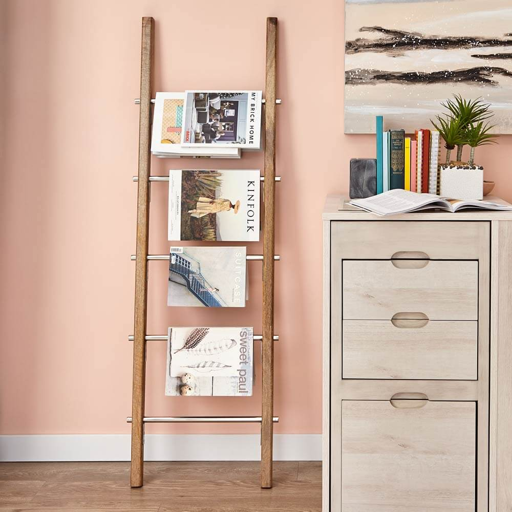 use a ladder to organize magazines.
