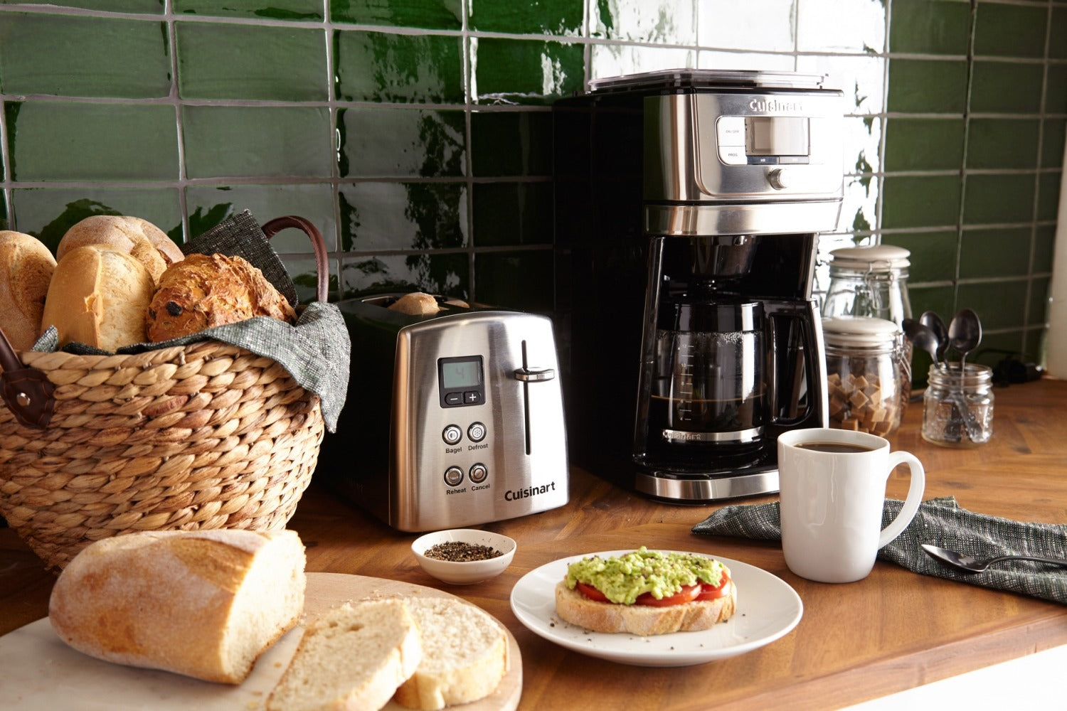 Assortment of Kitchen Appliances and Breads On A Kitchen Counter