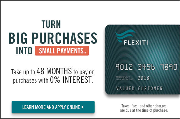 up to 48 months to pay with 0% interest with The Brick FlexitiCard