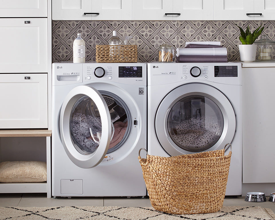 LG 5.2 Cu. Ft. Front-Load Washer and 7.4 Cu. Ft. Dryer with Wi-Fi