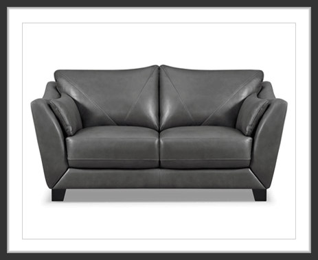 Chateaux d'Ax gray leather loveseat