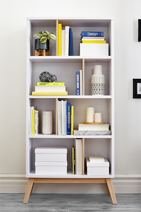 White Modern Bookshelf With Books and Plants