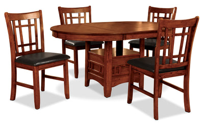 Dalton 5 Piece Oak Dining Package - Contemporary style Dining Room Set in Oak Asian Hardwood and Oak Veneers