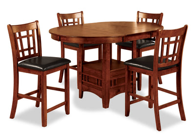 Dalton 5-Piece Oak Counter-Height Dining Package - Contemporary style Dining Room Set in Oak Asian Hardwood and Oak Veneers
