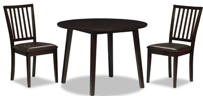 Dakota 3-Piece Round Table Dining Package - Contemporary style Dining Room Set in Dark Mango