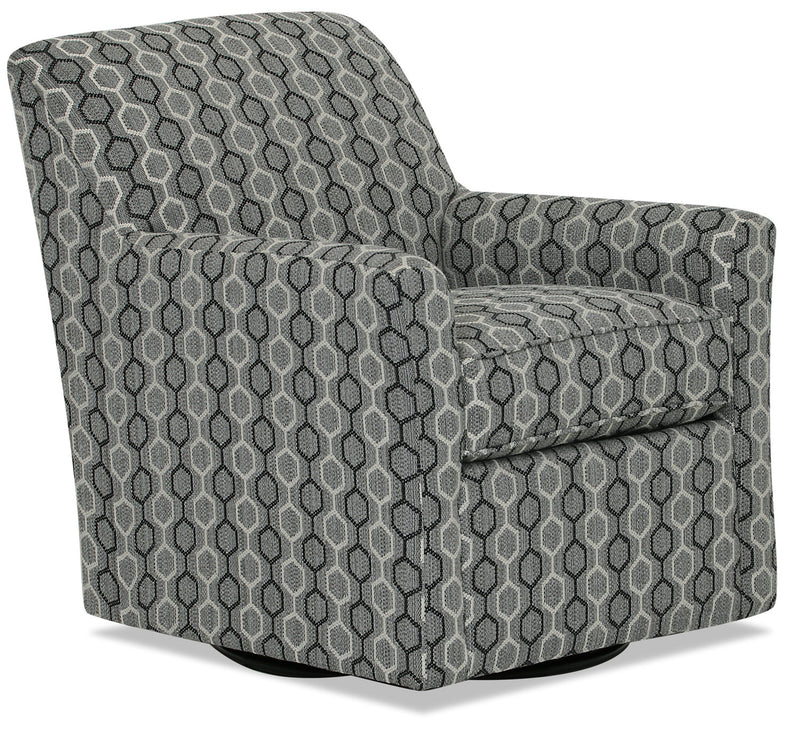 Designed2B Fabric Swivel Accent Chair - Ebony - {Contemporary} style Chair in Ebony {Solid Hardwoods}