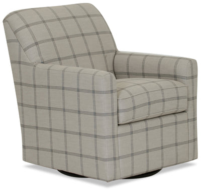 Designed2B Fabric Swivel Accent Chair - Fog - {Contemporary} style Chair in Fog {Solid Hardwoods}
