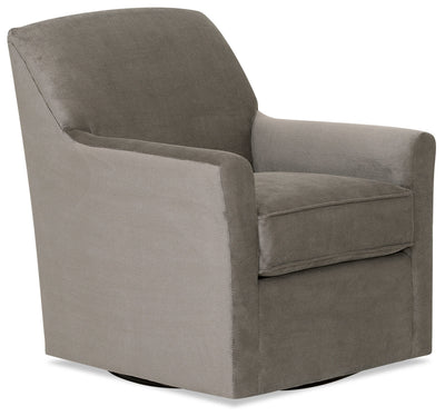 Designed2B Textured Polyester Swivel Accent Chair - Plush Pewter