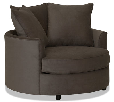 Designed2B Textured Polyester Nesting Accent Chair - Plush Dark Ash|Fauteuil d'appoint rond de la collection Design à mon image en polyester - Plush cendre foncée|16072679