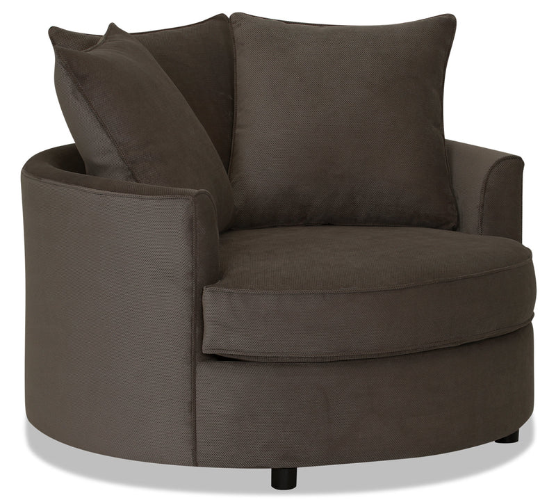 Designed2B Textured Polyester Nesting Accent Chair - Plush Dark Ash