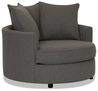 Designed2B Chenille Nesting Accent Chair - Milo Charcoal - {Contemporary} style Chair in Milo Charcoal {Solid Hardwoods}