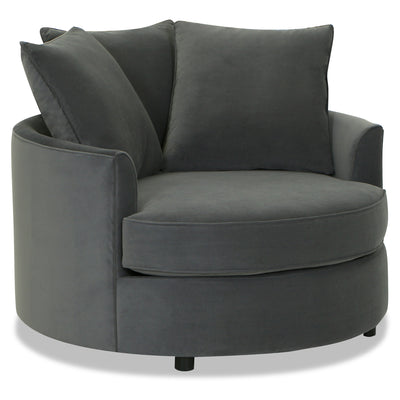 Designed2B Velvet Nesting Accent Chair - Kira Grey - {Contemporary} style Chair in Kira Grey {Solid Hardwoods}