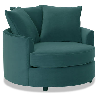 Designed2B Velvet Nesting Accent Chair - Kira Sea - {Contemporary} style Chair in Kira Sea {Solid Hardwoods}
